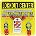 """Accuform Signs KST404 Lockout Center Board with Kit, 6-Padlock, 14"""" Length x 14"""" Width, Aluminum, Includes 6 Steel Padlocks, 10 Laminated Plastic Tags, 10 Plastic Ties, 1 Standard Scissor Hasp with 1"""" Opening, 1 Standard Scissor Hasp with 1-1/2"""" Opening"""