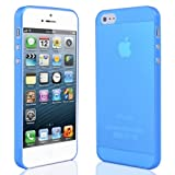 JJOnline Ultra Thin Cases Covers Skins For Apple iPhone 5 5G - Blue Frosted Effect Gel Silicone Rubber