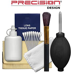 Precision Design 6-Piece Camera & Lens Cleaning Kit with Air Blower, Brush, Cleaning Solution, Microfiber Cloth, Lens Tissues & Cotton Swabs