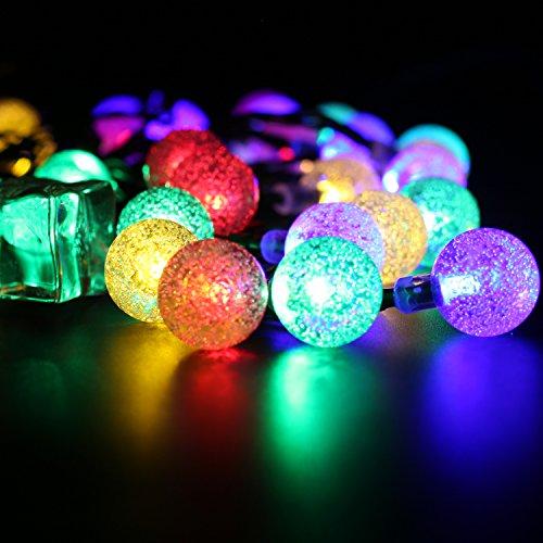 BOHMAIN Luz Solar de Exterior Impermeable 30 Bombillas LED Hada Luz Decoracion para el Jardin,Balcón,Patio,Fiesta,Dormitorio,Navidad,Decoracion Interior y Exterior-Multicolor
