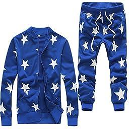 Men\'s Hip Hop Star Print SweatPants + Sweatshirt Harem Dance Jogger suits US size L/Tag XXL Blue Set