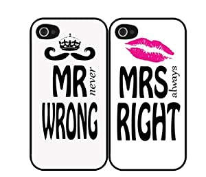 His & Hers Mr (never) Wrong and Mrs (always) Right Set of Two (2) iPhone 4/4s Case