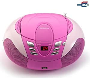 Lenco SCD-37 Radio AM/FM Portable avec Lecteur CD/mp3/wma Port USB Rose
