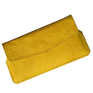 i-KitPit Quality PU Leather Pouch Case With Magnet Closure For Micromax Canvas Juice A77 (YELLOW)
