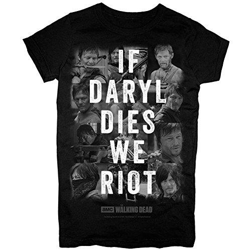 The Walking Dead If Daryl Dies We Riot Juniors Black T-Shirt (Medium)