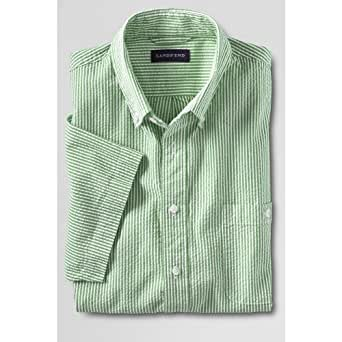 Lands 39 end men 39 s regular short sleeve buttondown stripe for Mens seersucker shirts on sale