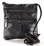 Small Black Soft Real Leather Neck Purse Cross Body Shoulder Travel Money Bag