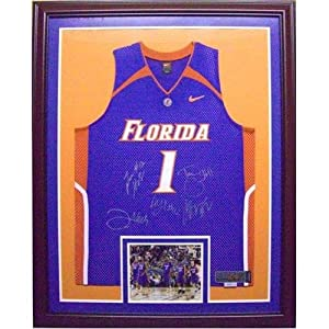 Florida Gators Starting 5 Autographed (Blue #1) Deluxe Framed Jersey w  Back-to-Back... by PalmBeachAutographs.com