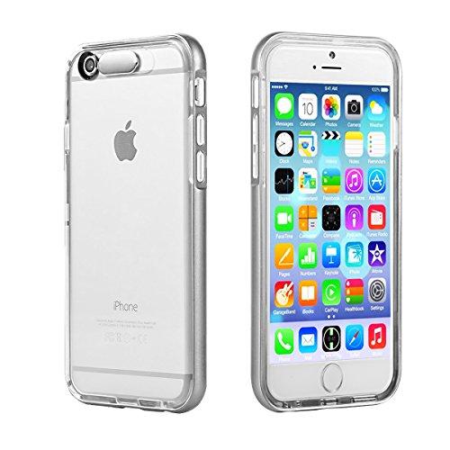EC Technology iPhone 6 ケース 着信時LEDフラッシュ機能付 TPU素材 ハードフレーム保護機能 全面発光 シルバー