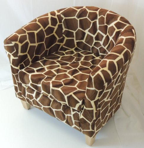 GIRAFFE PRINT TUB CHAIR WITH BEECH EFFECT LEGS