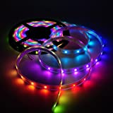 Mokungit 16.4 Ft 5m ws2812b 30 leds/m 150 SMD 5050 RGB Flexible full color pixel led strip Light white PCB 5V LED strip Light IP67 Waterproof