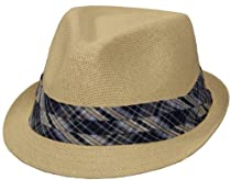 Classy Paper Fedora with Stylish Pleated Plaid Band (Natural Color, Large/X-Large)