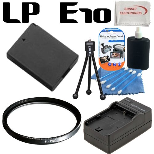 Canon LP-E10 - LPE10 - Replacement - Lithium Ion - High Capacity Battery Pack - For the Canon EOS Rebel T3, EOS 1100D, Kiss X50 Digital SLR Cameras; Also Includes Rapid Travel Charger, 77mm Multicoated Protective UV Filter & more....