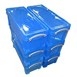 Really Useful Boxes Plastic 6.5 Litre (BLUE), Pack of 6 Boxes, MEGA-DEAL