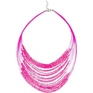 Heirloom Finds Neon Hot Pink Multi Strand Bib Necklace of Bugle Beads from Heirloom Finds