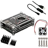 Basic 4 in 1 Kit for Raspberry Pi 2 and B+, Raspberry Pi Sliced 9 Layers Case Box + Cooling Fan+Two Aluminum Heatsinks+Switch(Black)