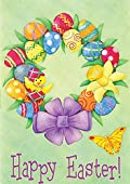 Happy Easter Wreath Garden Flag Colorful Floral Yard Banner 12