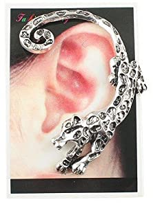 Fashion Leopard ear wrap cuff earring stud earring Gothic Earring Puck Rock Earring Left ear (antique silver)