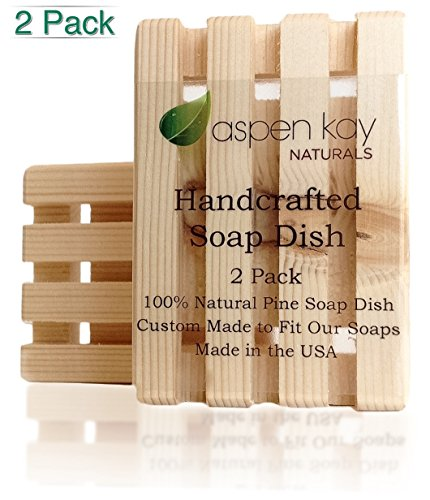 2 Pack Wood Soap Dish, 100% Natural Pine, No Chemical Varnish, Lacquer or Stain is Used, Custom Made to Fit Our Soaps Exactly, Handmade in the USA, Wooden Shower Soap Saver. (Usa Soap Dish compare prices)