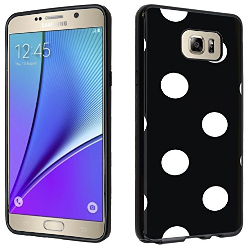 Galaxy Note 5 case - [polka dot](Black) PaletteShield(TM) Flexible TPU gel skin cell phone cover soft slim guard protective shell (for Samsung Galaxy Note 5 Note5)
