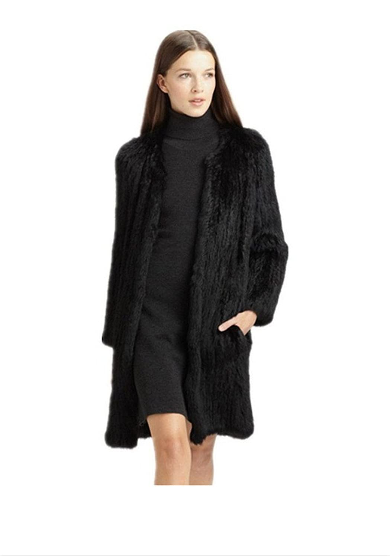 YR Lover Damen Echt Kanichen Pelz Knitted Warm Lange Mantel
