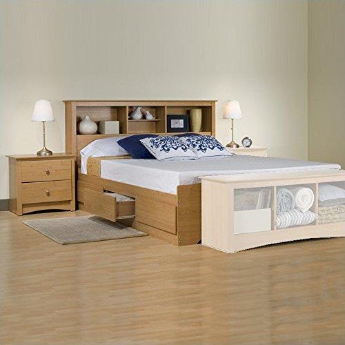 Prepac Sonoma Maple Full Wood Platform Storage Bed 3 Piece Bedroom Set