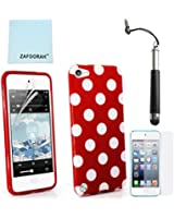 ZAFOORAH® Case Cover for Apple iPod Touch 5 5th Generation (Launched Sep 2012) + Free Stylus+Screen Protector+Microfiber Cloth (Polka Dot - RED)