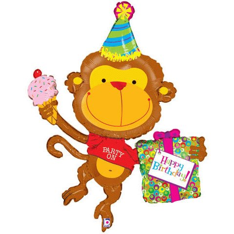 "Party on Happy Birthday Monkey 49"" Mylar Balloon Large"