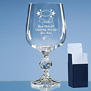 Personalised Engraved Glass Rugby Gift with Rugby Image on Wine Goblet. Includes Free Engraving