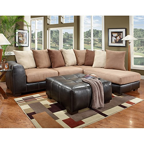 Flash Furniture Exceptional Designs Microfiber L-Shaped Sectional, Sea Rider Saddle