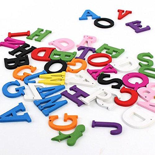 50Pcs Letter Alphabet Flat Backs Wooden Pendants Decoration