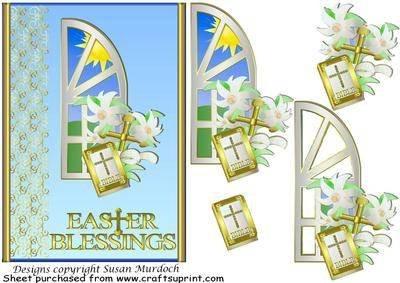 Grußkarte zu Ostern - mit Bibel mit Kreuz von Susan Herren Sonnenbrille Murdoch
