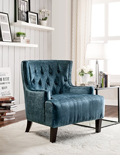 Iconic Home Hemingway Modern Tufted Teal Velvet Accent Chair with Solid Oak Legs, Oversized (Traditional Wingback Side Chair compare prices)