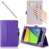 I-Blason The New Nexus 7 2 FHD (2nd Generation) Auto Wake / Sleep [Slim Book] Stand Case Cover (Elastic Hand Strap, Multi-Angle, Card Holder, Three Year Warranty) 16GB 32GB (Purple)