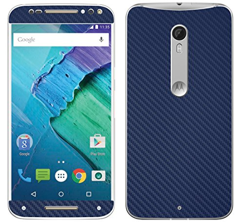 Decalrus - Motorola Moto X Pure Edition / Moto X Style BLUE Texture Carbon Fiber skin skins decal for case cover wrap CFmotoXPureBlue (Carbon Fiber Moto X compare prices)