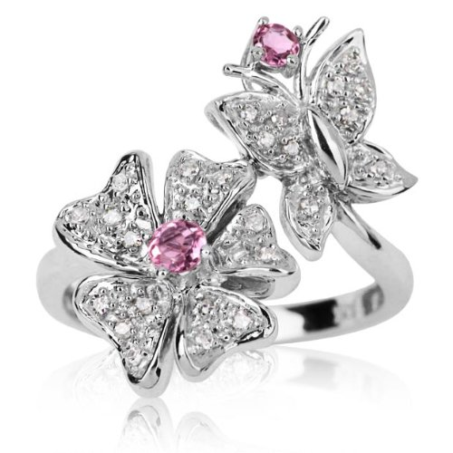 10k White Gold 0.15 ctw Pink Tourmaline and Diamond Butterfly Garden Ring