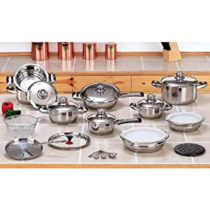 28pc 12-Element Stainless Steel Cookware Set by Vista