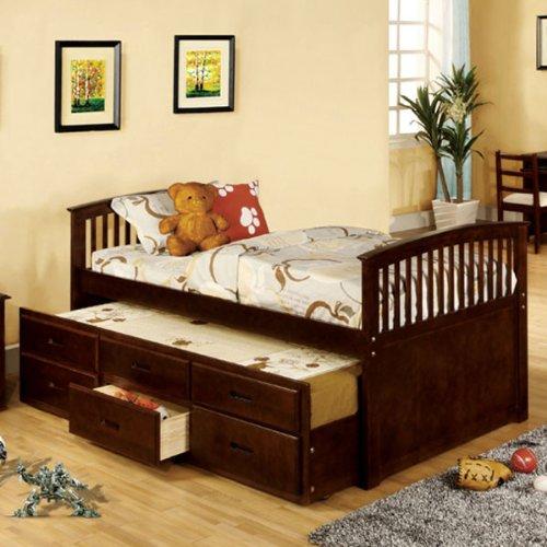 Bella Dark Walnut Finish Twin Size Captain Bed Frame front-1002475