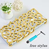 niceEshop NEW Electroplating Hollow Flower Pattern PC Case, Gold Hard Back Cover for iPhone 5