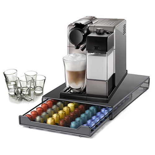 DeLonghi Nespresso Lattissima Touch Silver Combination Automatic Espresso and Cappuccino Machine with 60 Capsule Storage Drawer and Free Set of 6 Italian Espresso Shot Glasses