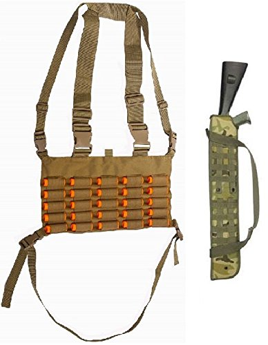 Ultimate Arms Gear Tactical Shotgun Package: Desert Tan Chest Rig 25 Round 12 & 20 GA Gauge Elastic Universal Shotgun Shot Shell Cartridge Ammo Ammunition Holder Carrier Hunting Harness Vest with Hidden Internal Document Map Utility Pocket + 29