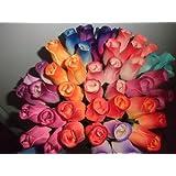 One Dozen Assorted Wooden Roses