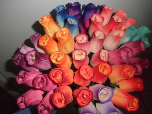 One Dozen Assorted Wooden Roses