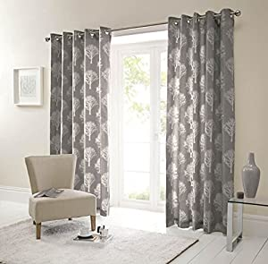 Forest Trees Charcoal White 90x72 Ring Top Lined Curtains #seertdnaldoow *cur* by Curtains