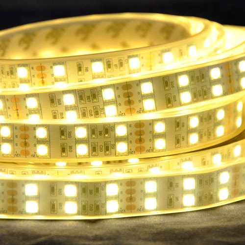 Warm White Sleeve Waterproof Ip67 Dc12V 5M 120Leds/M 600Leds 144W Double Row Self Adhesive Flexible Led Light Strip Smd5050
