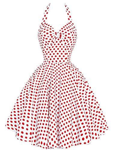 [Women Polka Dot Sundress Deep V-neckline Cocktail Dresses (White,S)] (1940s Dance Costumes)