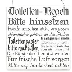 XL Shabby Vintage Schild Türschild TOILETTEN REGELN Bad Toilette WC Dekoration Holzschild Landhaus Chic