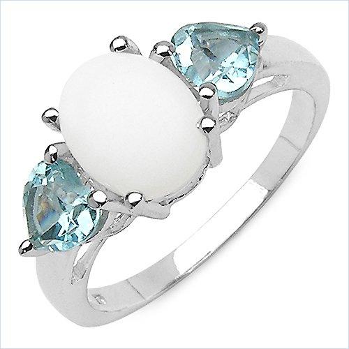Creative Silver 2.10 Carat Genuine Opal & Blue Topaz Sterling Silver Ring