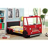 Furniture of America Kiddie Rescuer Fire Truck Style Youth Bed, Red, Twin