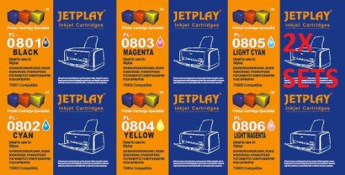 Jetplay Kompatible Druckerpatronen für Epson Stylus Photo P50, 12 Stück (2 x Schwarz, 2 x 2 x Cyan, Magenta, 2 x Gelb, 2 x Helles Cyanblau, 2 x Helles Magenta). Fassungsvermögen Ink. 801-6 807 (Multipack) Jetplay Kompatible Tintenpatronen mit Chip, ersetzen T0801/T0802/T0803/T0804/T0805/T806 Youprint